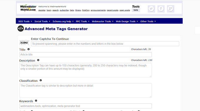 Advanced Meta Tags Generator
